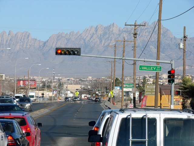 2014-1-21L double back to Las Cruces Walmart and this dramatic landscape and busy town