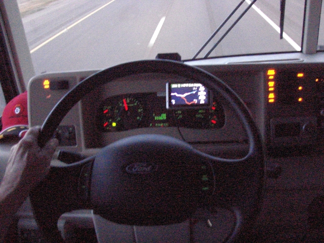 2014-5-22b the lighted dash as I continue west on I-40 just after daybreak