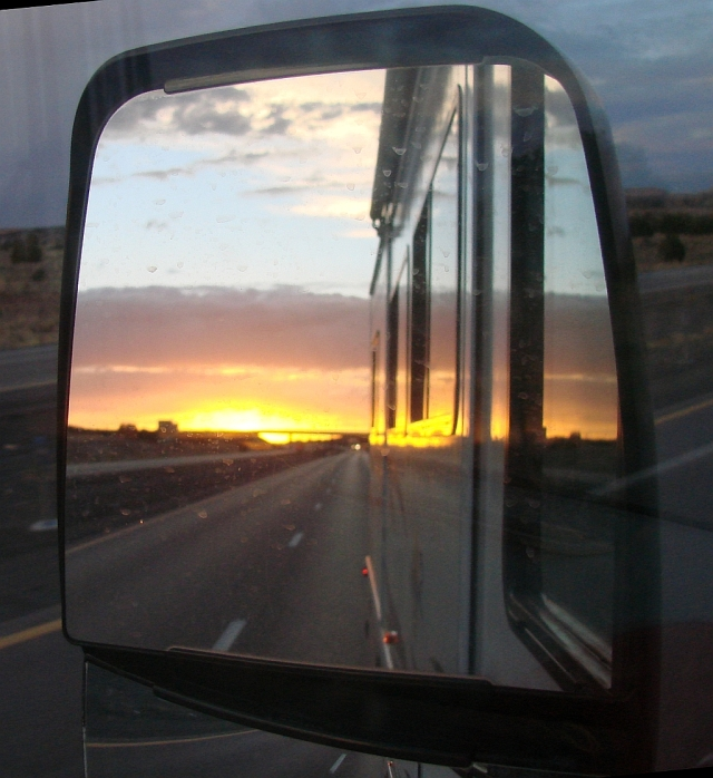 2014-5-22d sunrise in the east in my  mirror as I head west.