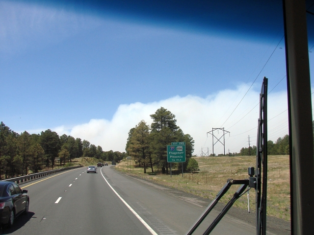 2014-5-22n forest fire near Flagstaff. That white cloud is smoke.