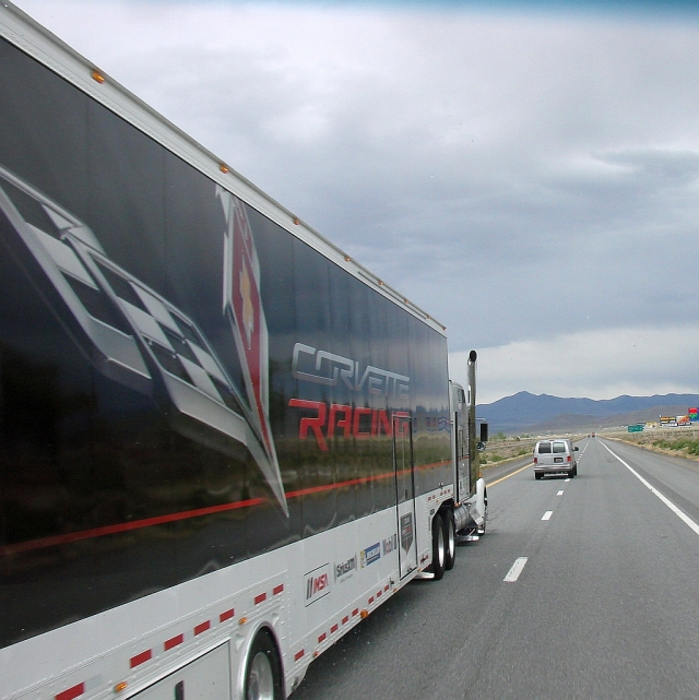 2014-5-5j Corvette racing truck blows by us