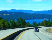 Dropping down from Lookout Pass, the Couer D' Alene Lake dominates the area.