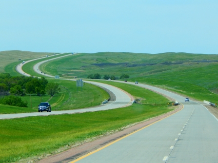 I-90 winds through the hills.