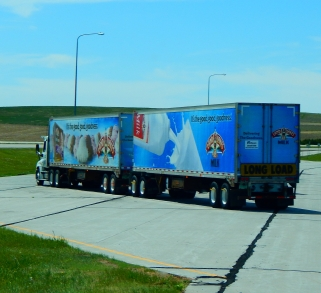 """Also in South Dakota in May, 2017: This rig is referred to as a """"turnpike doubles"""" with two 48' trailers and fully tandem axles!"""