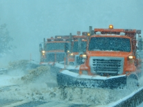 Teamwork! Three snowplows wiping clean the eastbound side. Still, the eastbound lanes were closed as I drove over the summit.