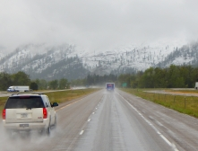 It was a snowy and rainy drive to Missoula.