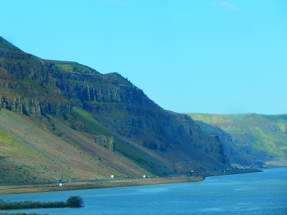 Awesome cliffs rise high above the river.
