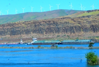 Barge traffic on the Columbia River.