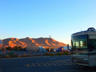 The morning sun cast dramatic shadows on the nearby hills before we left Winnemucca.