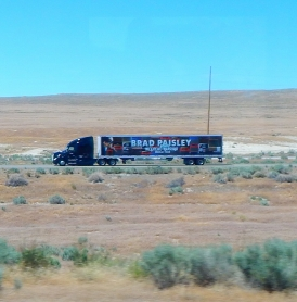 June, 2017: We saw four or five of these Brad Paisley rigs heading west for his next concert.