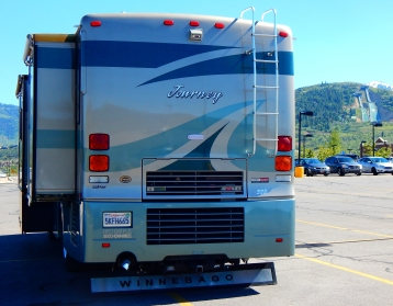Parked at Park City. Note the ski jumps in the distance that were built for the 2002 Olympics.