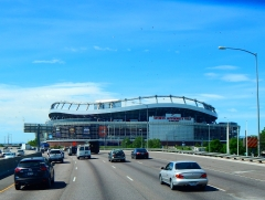 World famous Mile High Stadium. It seems we'd drive right through it... 'til we are almost on top of it.