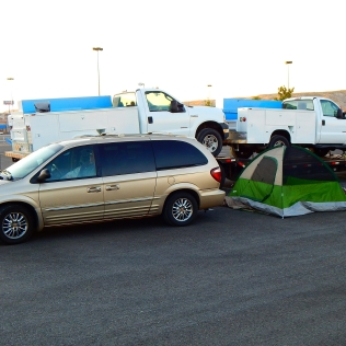 Tent camping at Walmart?! This was a first for me.