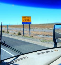 A very legitimate warning along the 100 mile drive across the salt flats of Utah.