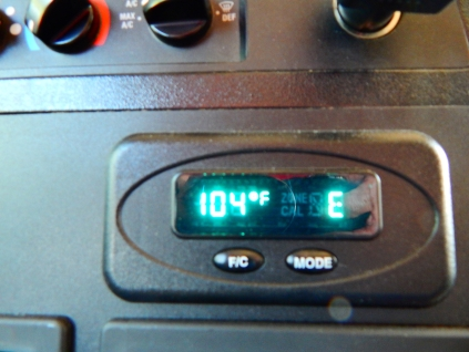 I think 104° was due to the hot parking lot we waited on in Reno; the recorded high was 98°.