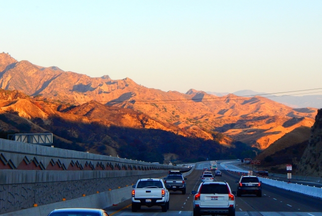 The early morning sun casts interesting shadows upon the Tehachapi Mountains.