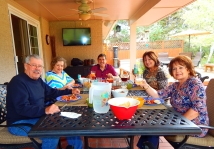 Our big Sunday feast on the patio - delicious!