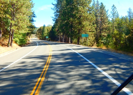 Driving through the beautiful Sierras.