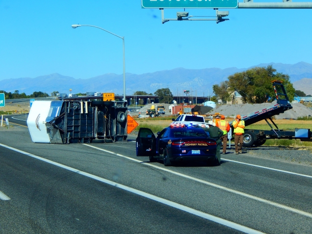Someone had a very bad day at an off ramp in Lovelock, NV as we drove past. The tow vehicle was upright and I doubt anyone was hurt.