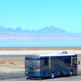A beautiful view of the Bonneville Salt Flats - and Cecil looks pretty darn good, too!