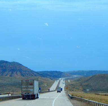 I-80 seems to never end as it crosses Wyoming.