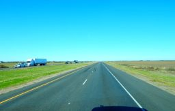 Northbound on I-5 south of Sacramento against an unrelenting north wind.