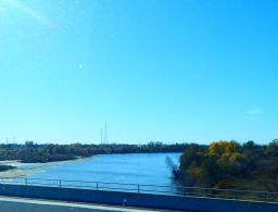 Crossing the Feather River in Sutter County.