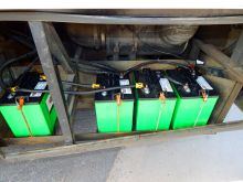 The bank of four deep cycle batteries that power the coach overnight.