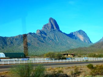 "Beautiful Picacho Peak which is a state park. That's an ostrich ""ranch"" in the foreground!"