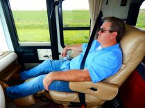 Dean kicked back and enjoyed the ride and the panoramic view as only a Class A coach can provide.