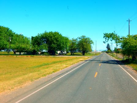 A country lane near Gale and John's place that leads to the tiny town of Biggs.