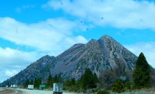 This appears to be a giant sand pile that is named Shastina near Mt. Shasta along I-5.