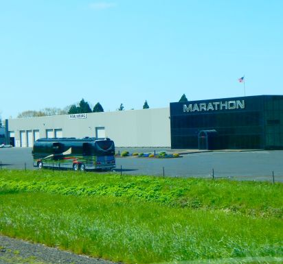 We passed the Marathon Coach facility where million dollar coaches are made.