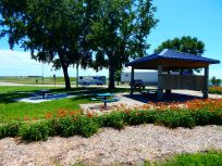 Big Blue waited in the background as I enjoyed this lovely little North Dakota rest area.