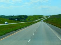 I-94 flows through the North Dakota hills like a river.
