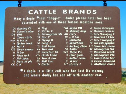 This was posted at the rest area. Keep a copy in case some day a lost cow shows up on your patio. This will help identify her brand!