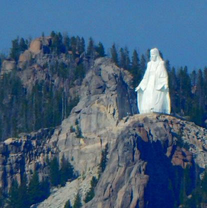 """Our Lady of the Rockies"" overlooks Butte, Montana as she stands on the Continental Divide at 8510'."