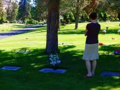 Jill at Preston's grave as we paid a visit. The cemetery is beautiful and well kept.