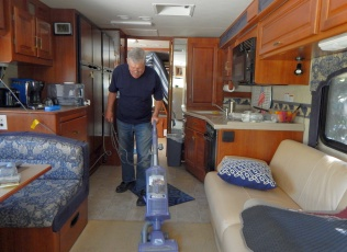 Hard at work keeping the coach clean, but...