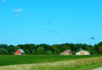 Two red barns for the price of one - I could not resist!