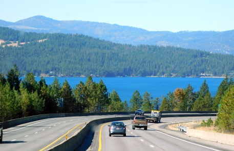 The beautiful Lake Coeur d'Alene near the town of the same impossible name.