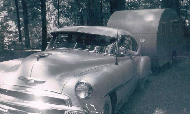 c1958 Mom and us '51 Chev, trailer built by Orval, summer kids camp rig.