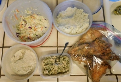 Goodness! I may have enough chicken, taters & gravy, and cole slaw to last a day or two!