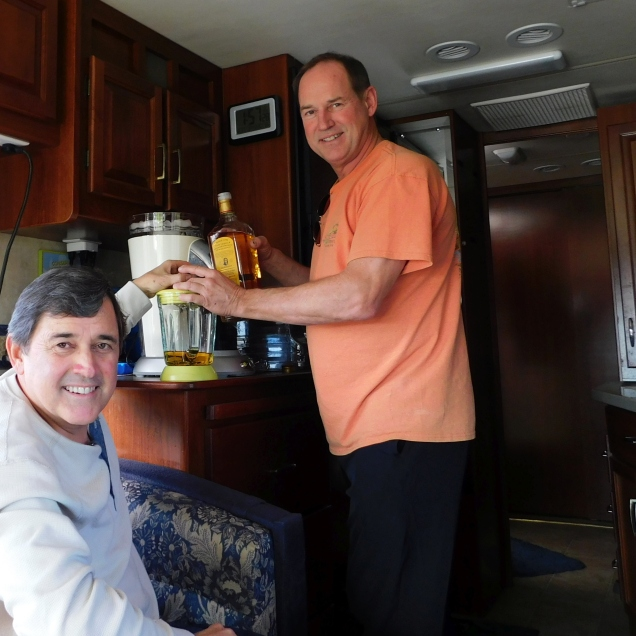 Craig operates the Margaritaville mixer as Allen lends a hand. That machine makes incredible margaritas!