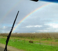 A rainbow appeared as I neared my destination for the night.