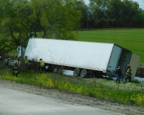Apparently, the driver fell asleep (just my guess), veered off the highway and crashed head-on into a tree. It was a fatal accident.