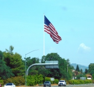 Old Glory flies high above Redding.