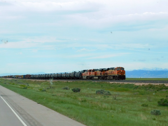 A thundering freight train northbound in Colorado. This was selected as photo of the day!