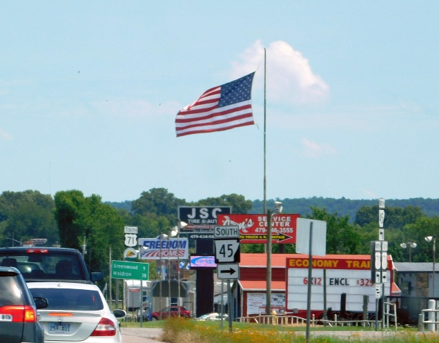 ...these are two of several we saw flying high above retail firms. They know Arkansas folks are flag wavers, just like us!