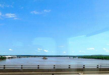 We crossed the very swollen Arkansas River.